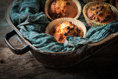 Delicious lemon muffins with tea and coffee romantic. Mood royalty free stock photography