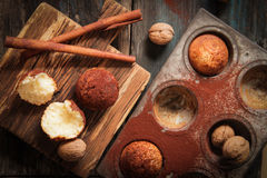 Delicious lemon muffins with tea and coffee romantic. Mood royalty free stock image