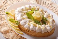 Delicious lemon tart with meringue close-up. horizontal Stock Photo