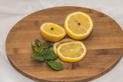 Lemon with rose branch on the circle royalty free stock photography