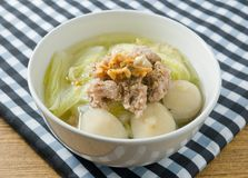 Delicious Lettuce Soup with Pork and Meat Ball Stock Images