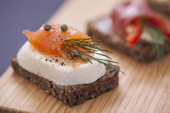 Delicious little sandwiches with tuna, cheese, prosciutto and ve Royalty Free Stock Photography