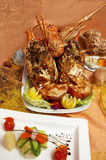Delicious lobster. A grilled lobster ready to be served stock photo