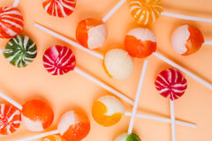 Delicious lollipop. Candy, sugar. Delicious lollipop on the table stock photography