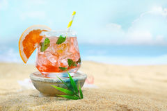 Delicious looking cocktail on the beach Stock Photography