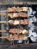 Delicious looking mutton and beef on BBQ. Stock Image