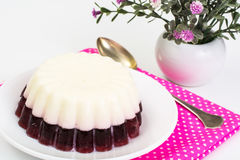 Delicious low-calorie dessert-Cherry Milk Jelly Stock Photography