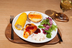 Delicious low calorie slimmers meal with barbecue chicken and sa Royalty Free Stock Photography