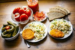 delicious lunch with pickled vegetables royalty free stock images