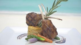 Delicious lunch served on the sandy Maldives beach stock video