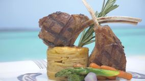 Delicious lunch served on the sandy Maldives beach stock footage