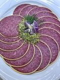 Delicious and luxury aperitif with fresh slices of salami and herbs royalty free stock image