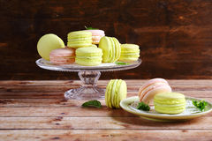 Delicious macaroon on  stand Royalty Free Stock Photography