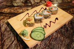 Delicious Magura grill maki sushi rolls Royalty Free Stock Photography