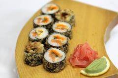 Delicious Magura grill maki sushi rolls Stock Images