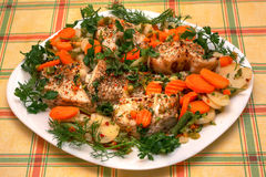 Delicious main dish: fish with vegetables on the plate over checked tablecloth Royalty Free Stock Photos