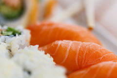 Sushi plate with chopsticks Stock Photos
