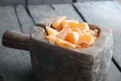 Delicious Mandarin citrus fruit slices Stock Images