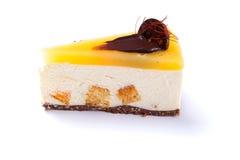 Delicious mango cake isolated on white stock image