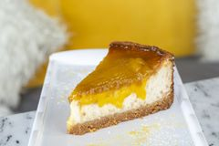 Delicious mango lime cheesecake stock photo