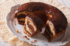 Delicious marble cake with chocolate frosting sliced close-up. h Royalty Free Stock Photo