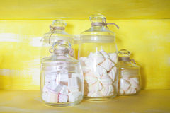 Delicious Marshmallows in the glass jar. Royalty Free Stock Photos