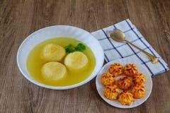 Delicious Matzoh ball soup homemade healthy Stock Photos