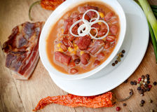 Delicious meal - beans with smoked meat Stock Photos