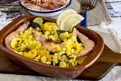 Delicious meal with shrimps and yellow rice Royalty Free Stock Photography