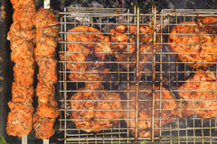 Delicious meat on the grill. Barbecue. Royalty Free Stock Photo