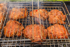 Delicious meat on the grill. Barbecue. Stock Images