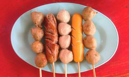 Delicious. Meatball and Hotdog in Thailand Royalty Free Stock Photo