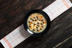 Delicious Meatball Soup on Wooden Table Royalty Free Stock Photos