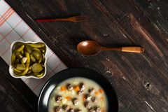 Delicious Meatball Soup on Wooden Table Royalty Free Stock Photo