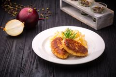 Delicious meatballs cutlets with garnish on black background Stock Photos