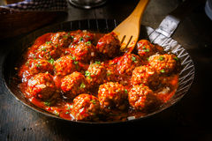 Delicious meatballs in a spicy tomato sauce Royalty Free Stock Photography