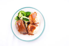 Delicious meatloaf with mashed potatoes gravy and fresh vegetab Royalty Free Stock Photography