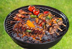 Delicious meats on garden grill Stock Photo