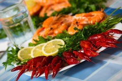 Delicious Mediterranean seafood shrimps and crawfish close up Stock Photo