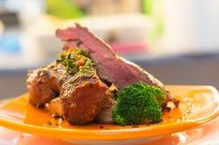 Delicious medium rare sirloin steaks and Stock Photo