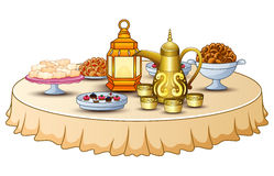 Delicious menu for iftar party are on the table with lantern and gold teapot Royalty Free Stock Photography