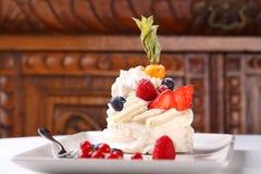 Delicious meringue cake with cream Stock Photography