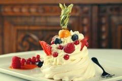 Delicious meringue cake with cream Royalty Free Stock Image