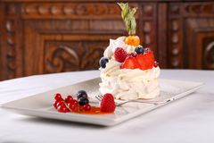 Delicious meringue cake with cream Royalty Free Stock Photo