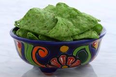 Delicious mexican green nachos Stock Image