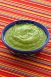 Delicious mexican guacamole dip. Mexican guacamole, prepared with fresh avocados, lemon juice, vinegar and hot and sweet peppers, on artisan talavera pottery royalty free stock photography