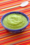 Delicious mexican guacamole dip. Mexican guacamole, prepared with fresh avocados, lemon juice, vinegar and hot and sweet peppers, on artisan talavera pottery royalty free stock photos