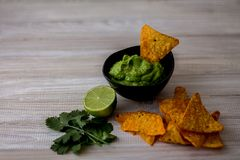 Delicious Mexican Guacamole Home made. stock images