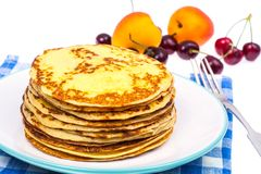Delicious milk thin pancakes Royalty Free Stock Photography