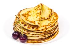 Delicious milk thin pancakes Stock Photography